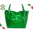 DESIGNER BAG LADIES CROCODILE PATENT LEATHER LOOK 5936 VERDE