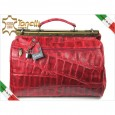 2974 Italy red travel leather kroko bag Tonelli Uomo